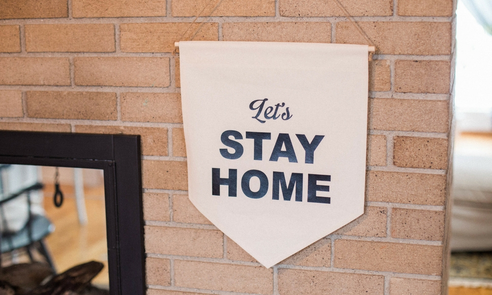family room lets stay home pennant