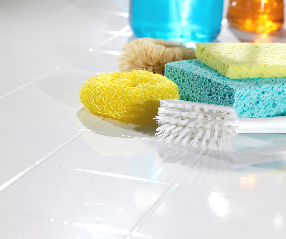 sponges and cleaning brush